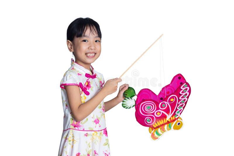 La bambina cinese asiatica che giudica latern celebra il Fe di mezzo autunno fotografia stock libera da diritti