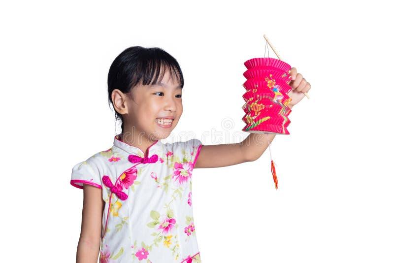 La bambina cinese asiatica che giudica latern celebra il Fe di mezzo autunno fotografia stock