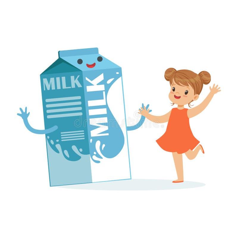 La bambina felice sveglia ed il latte divertente inscatolano la scatola con viso umano sorridente che gioca e che si diverte, l'a royalty illustrazione gratis