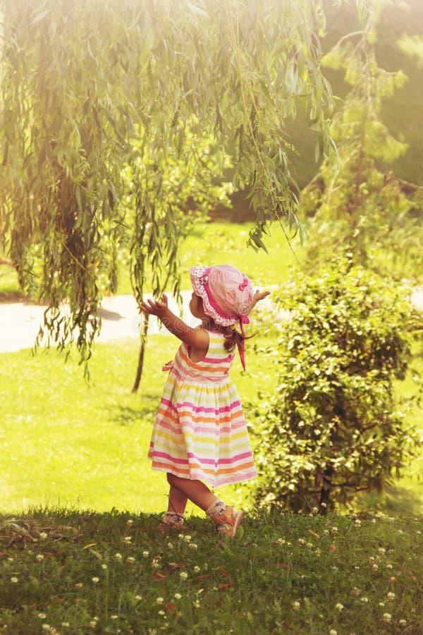 La bambina graziosa si rilassa al fondo del paesaggio dell'estate modificato immagine stock
