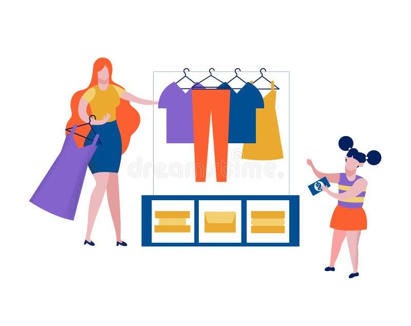 La bambina in negozio sceglie il vestito, acquisto, deposito illustrazione di stock