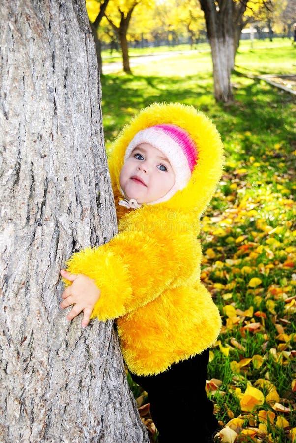 La bambina nella sosta luminosa di autunno immagini stock