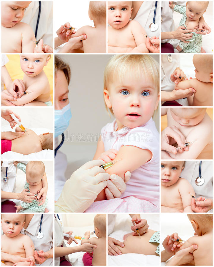 La bambina ottiene un'iniezione immagine stock libera da diritti
