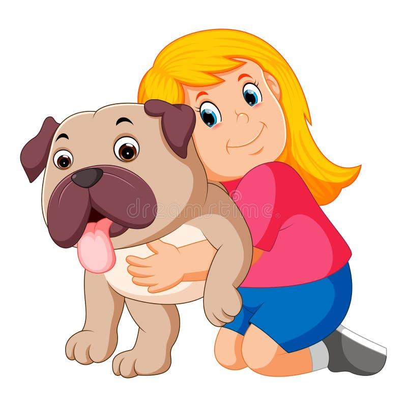 La bambina sta abbracciando il cane illustrazione vettoriale
