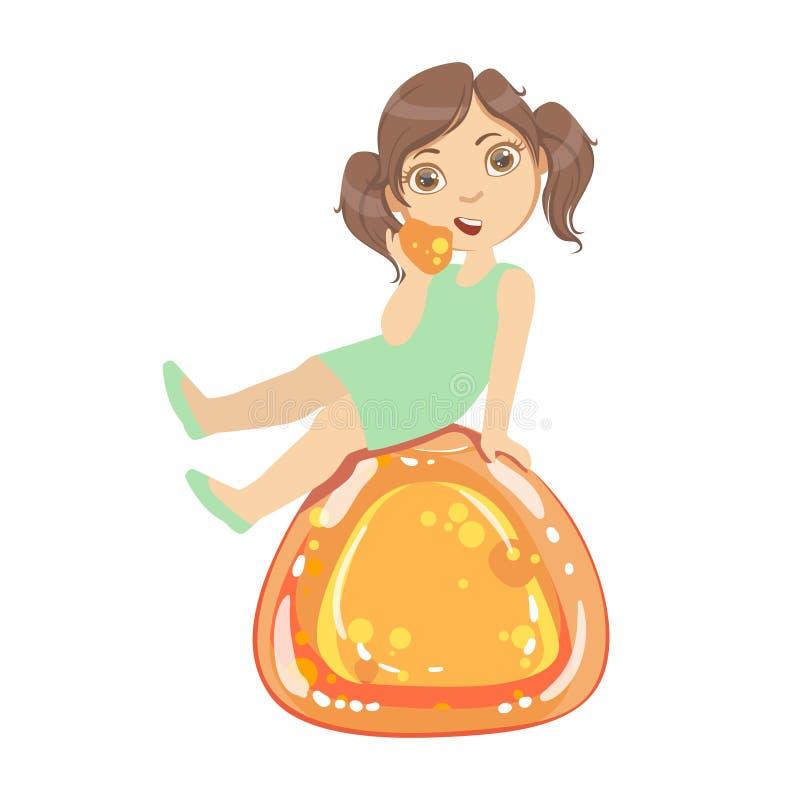 La bambina sta sedendosi su una gelatina arancio enorme Andy, un carattere variopinto royalty illustrazione gratis