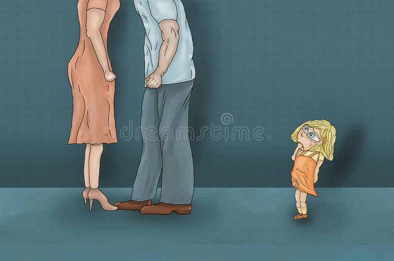 La bambina stava gridando perché scena triste e drammatica di litigio della mamma e del papà, illustrazione vettoriale