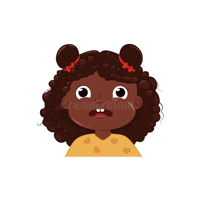 La bambina sveglia è impaurita Bambino spaventato di emozione illustrazione di stock