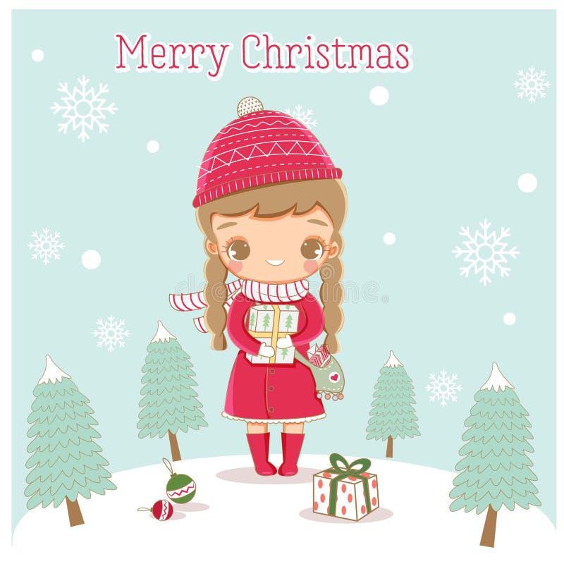 La bambina sveglia felice prepara i regali per il festival di Natale royalty illustrazione gratis