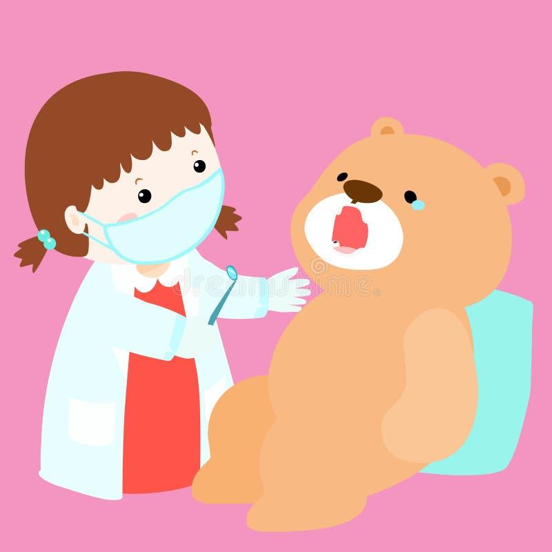 La bambola della cura della bambina ha carie dentaria illustrazione vettoriale