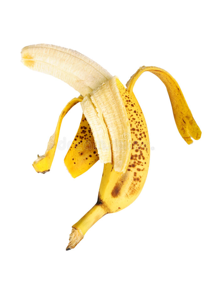 La banana ha annullato di una buccia fotografia stock