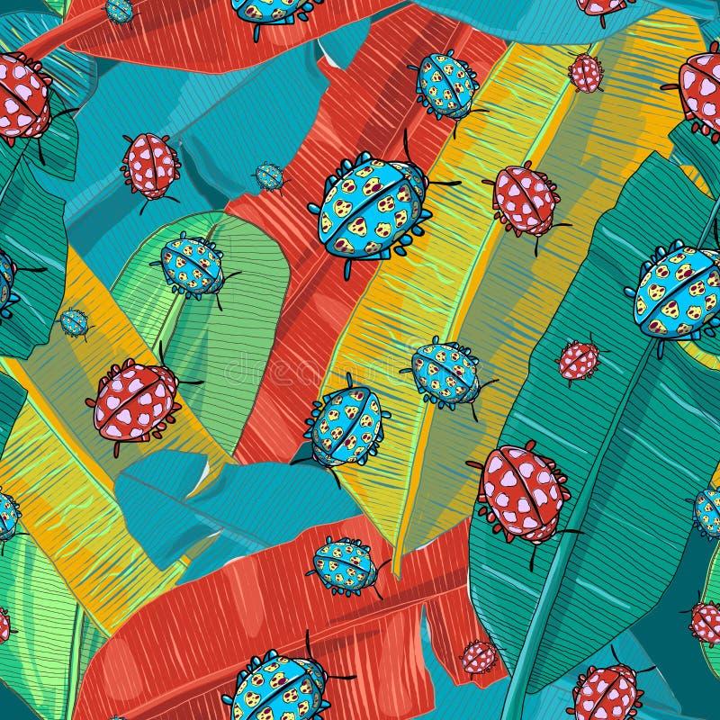 La banane exotique colorée, créative et élégante de jungle part avec le vecteur de modèle répété par insectes de dame illustration libre de droits