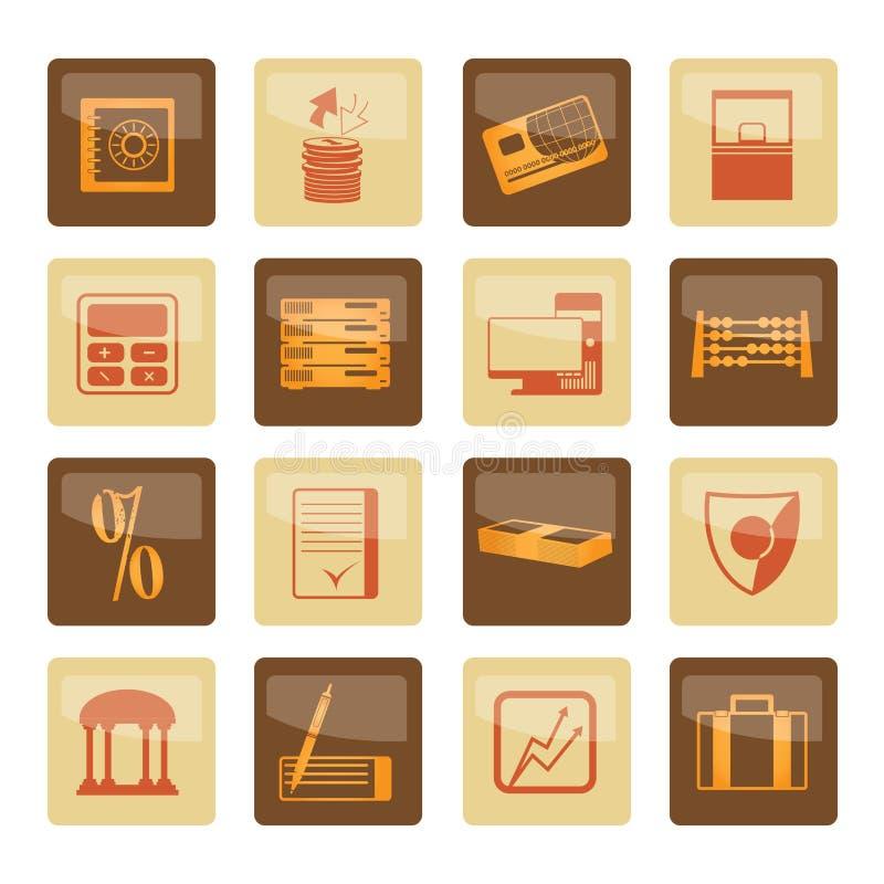 La Banca, affare, finanza ed icone dell'ufficio sopra fondo marrone illustrazione vettoriale