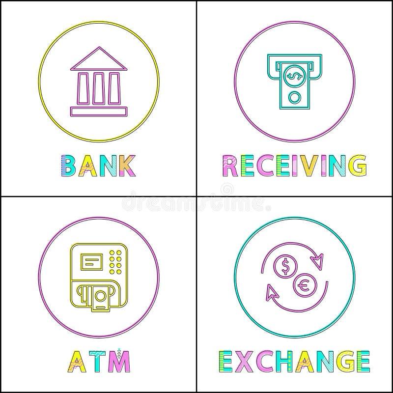 La Banca che riceve l'illustrazione di vettore di transazione illustrazione vettoriale