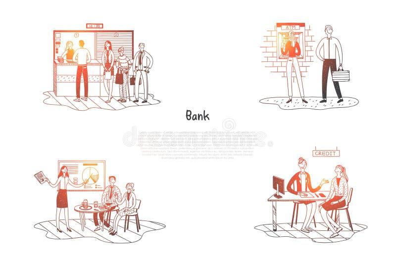 La Banca - clienti in banca che ascoltano royalty illustrazione gratis