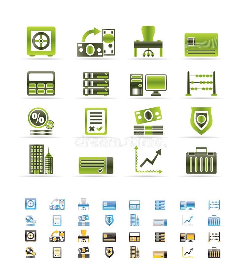 La Banca, commercio, finanze ed icone dell'ufficio illustrazione vettoriale