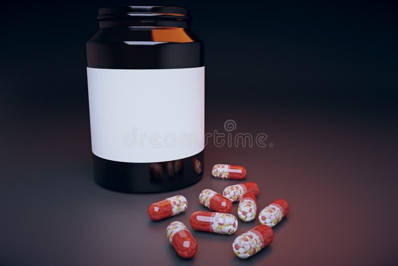 La Banca delle pillole sulla tavola illustrazione di stock