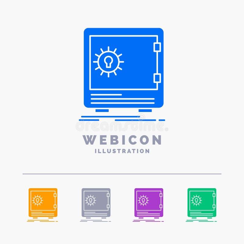 La Banca, deposito, cassaforte, sicurezza, modello dell'icona di web di glifo di colore della cassaforte 5 isolato su bianco Illu illustrazione vettoriale