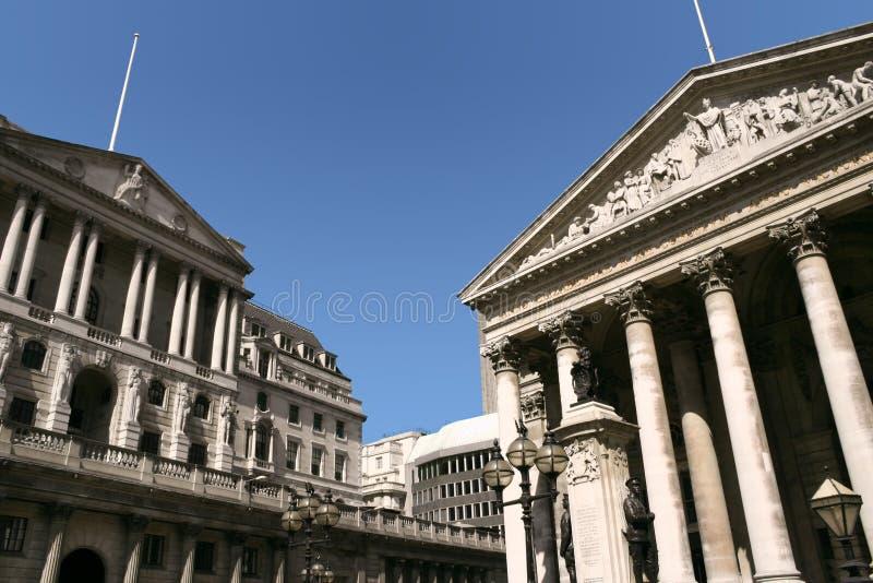 La Banca di Inghilterra e lo scambio reale, Londra immagine stock