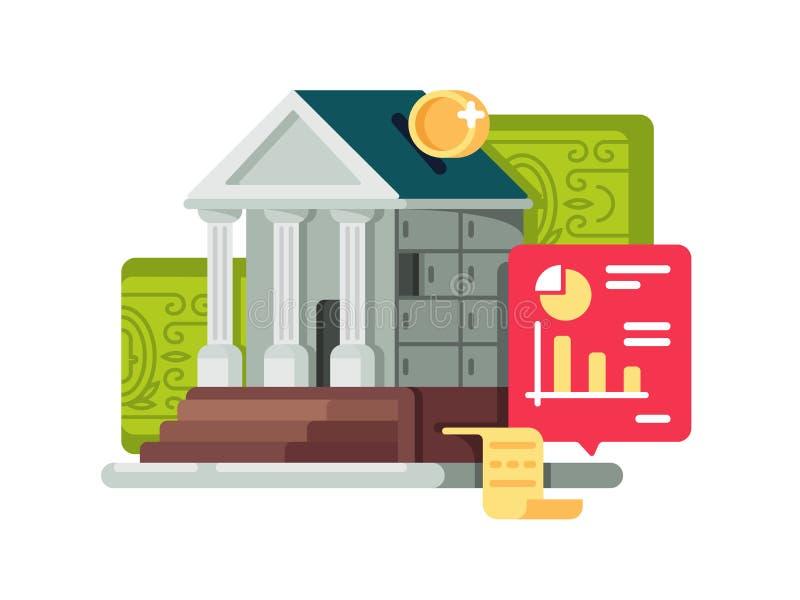 La Banca ed icona di finanza di attività bancarie illustrazione di stock