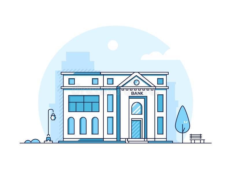La Banca - linea sottile moderna illustrazione di vettore di stile di progettazione royalty illustrazione gratis
