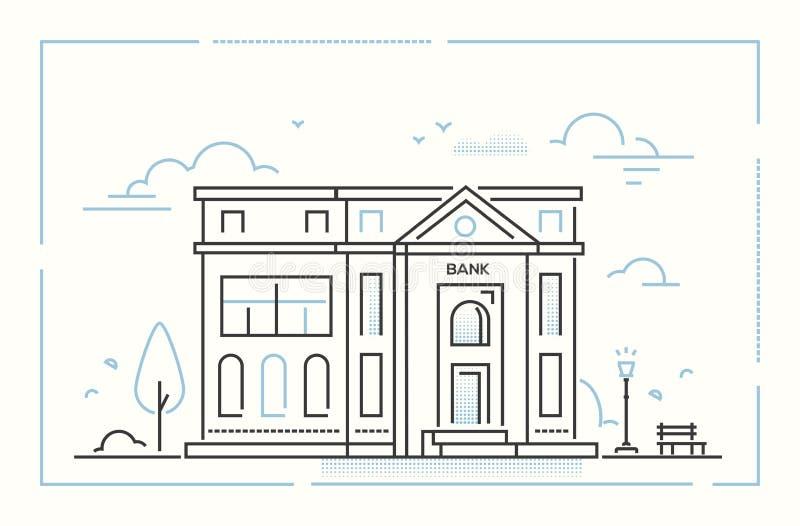 La Banca - linea sottile moderna illustrazione di vettore di stile di progettazione illustrazione vettoriale