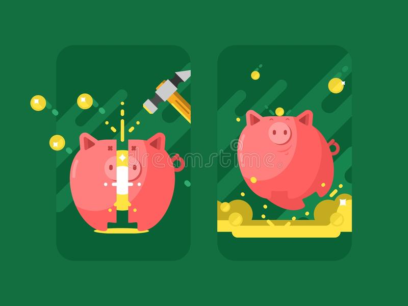 La Banca Piggy con soldi illustrazione di stock