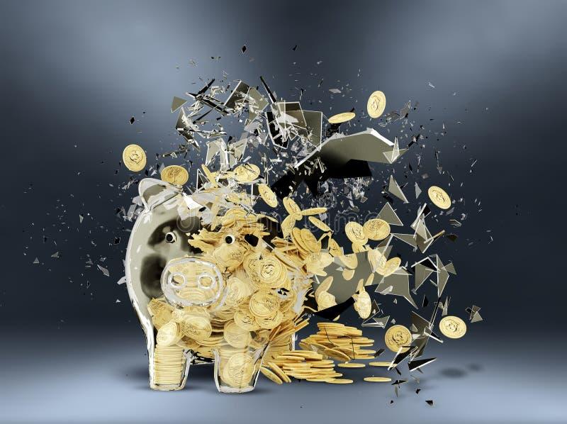 La Banca Piggy rotta illustrazione di stock