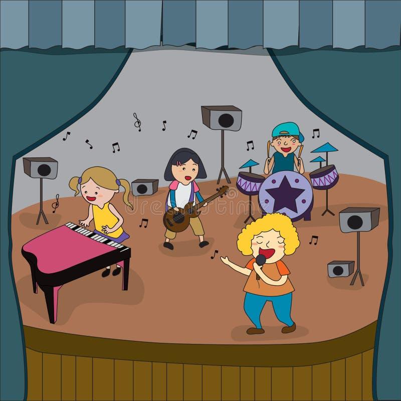 La banda de los niños de la historieta está jugando concierto en etapa en feria de la escuela libre illustration