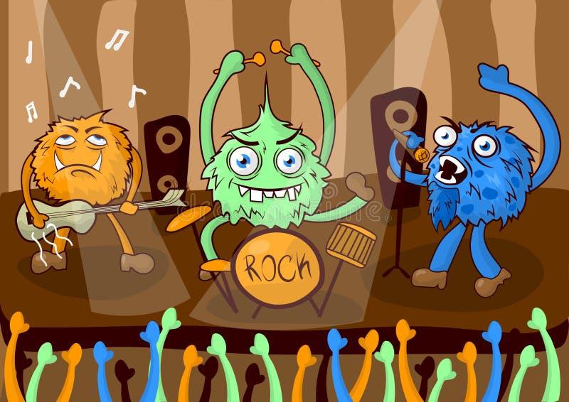 La banda di musica di concerto rock dei mostri del fumetto vector l'illustrazione royalty illustrazione gratis