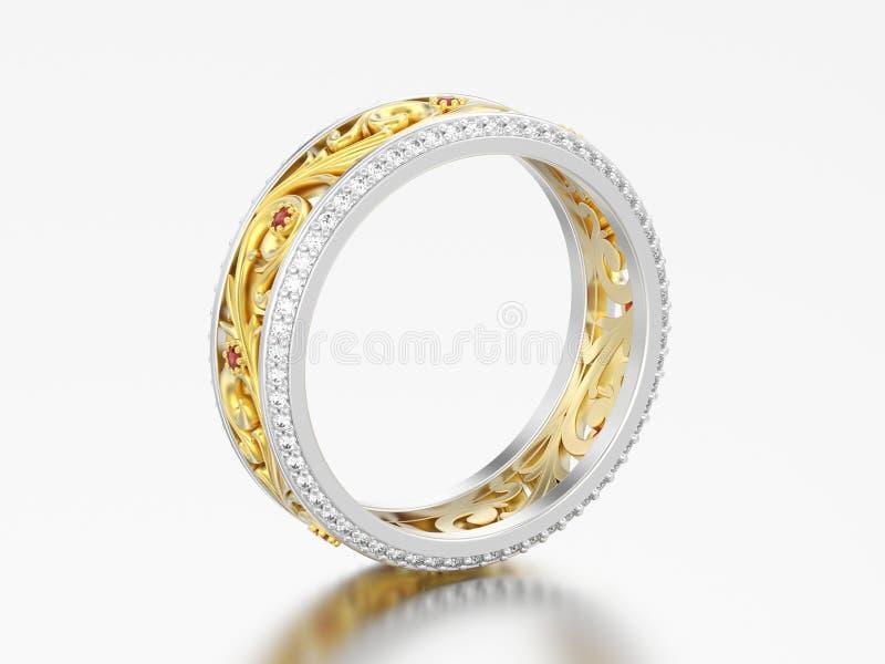la banda di nozze di impegno dell'oro e dell'argento dell'illustrazione 3D suona lo spirito royalty illustrazione gratis