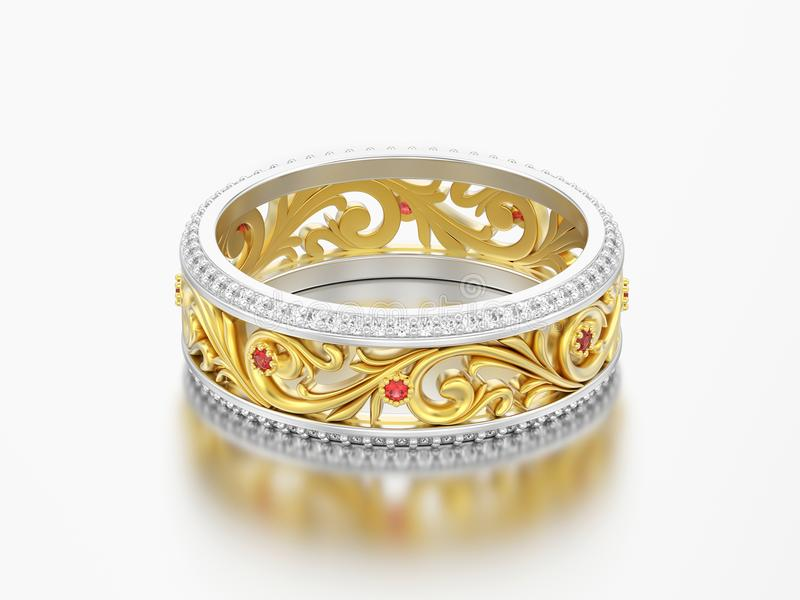 la banda di nozze di impegno dell'oro e dell'argento dell'illustrazione 3D suona lo spirito illustrazione di stock