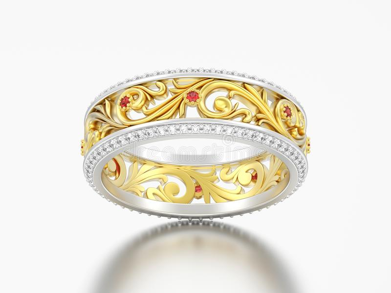 la banda di nozze di impegno dell'oro e dell'argento dell'illustrazione 3D suona lo spirito illustrazione vettoriale