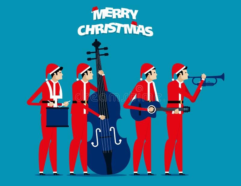 La banda El equipo de Papá Noel se relaja Ejemplo del vector del día de fiesta del concepto ilustración del vector