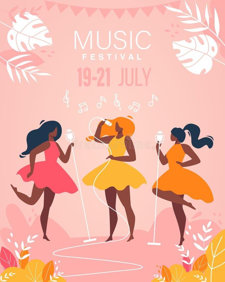 La banda musicale delle ragazze di festival di musica esegue in scena illustrazione vettoriale