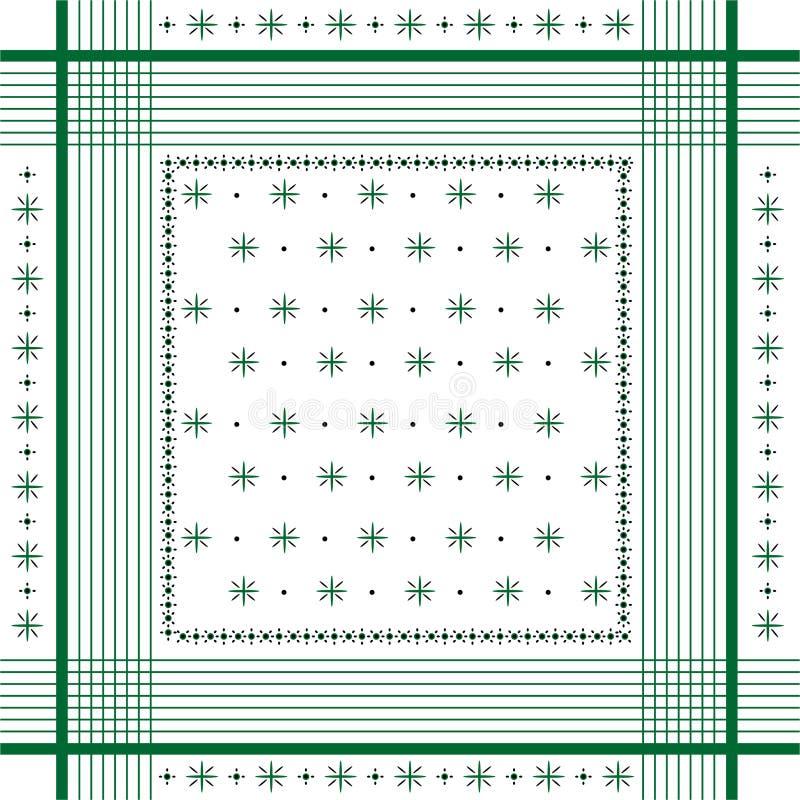 La bandana minima dell'ornamento d'avanguardia di vettore stampa, sciarpa di collo di seta o stile quadrato di progettazione del  illustrazione di stock