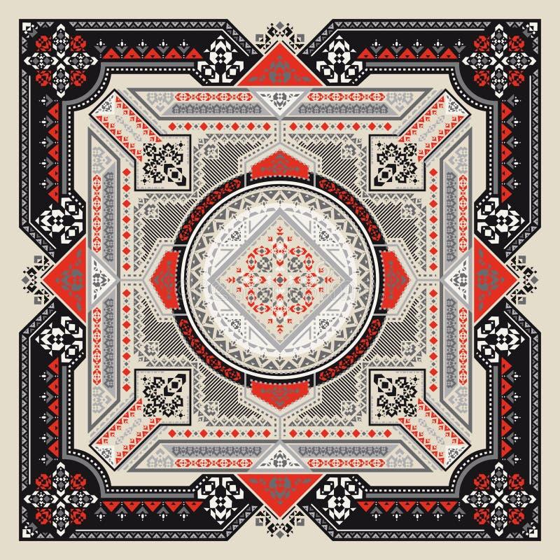 La bandana tribale di arte stampa Stampa geometrica etnica illustrazione vettoriale