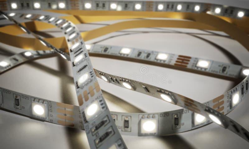 La bande de diode a mené des lumières que le plan rapproché 3d de bande rendent sur le blanc illustration de vecteur