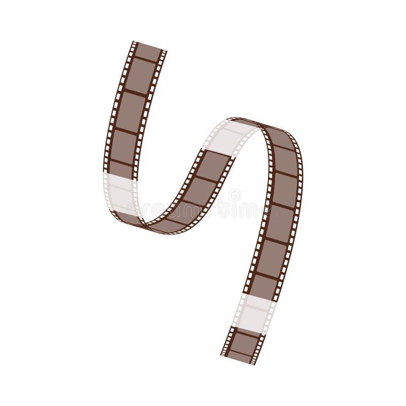 La bande de film avec les boucles vides et les torsions de cadres diagonalement illustration libre de droits