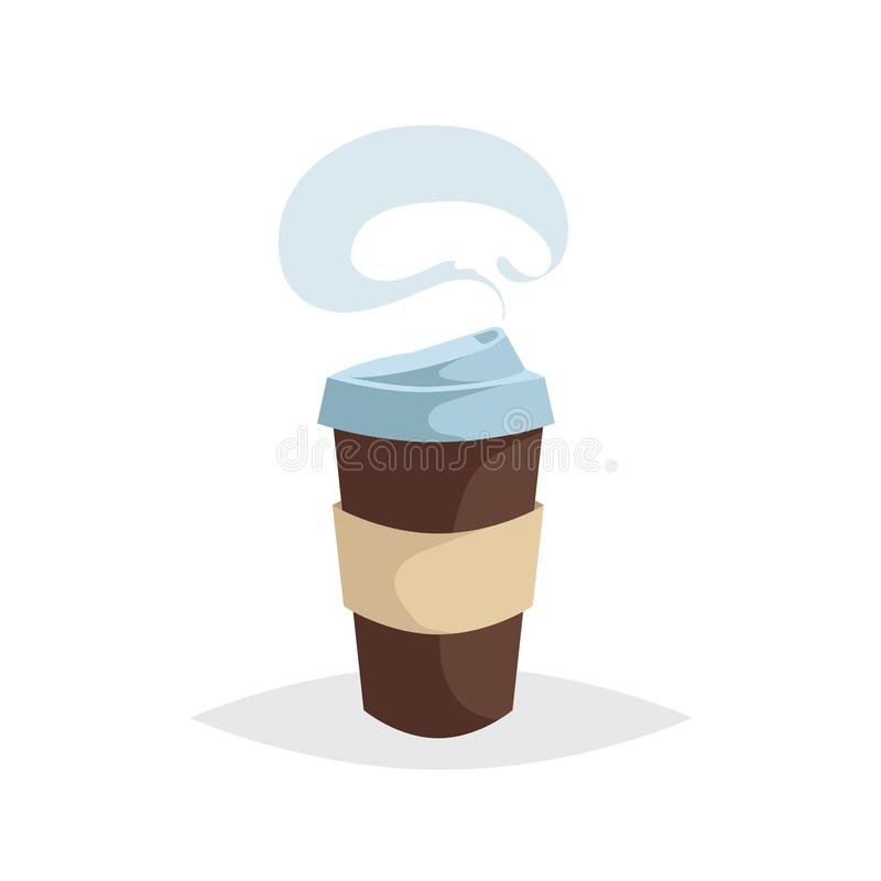 La bande dessinée élégante emportent la tasse de coffe avec la poignée et la vapeur Conception décorative à la mode Grand pour le illustration de vecteur