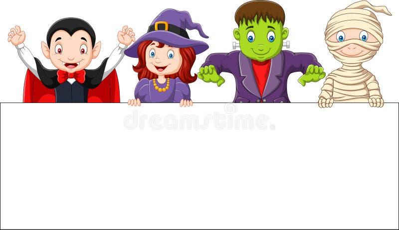 La bande dessinée badine avec le costume de Halloween avec le signe vide illustration libre de droits