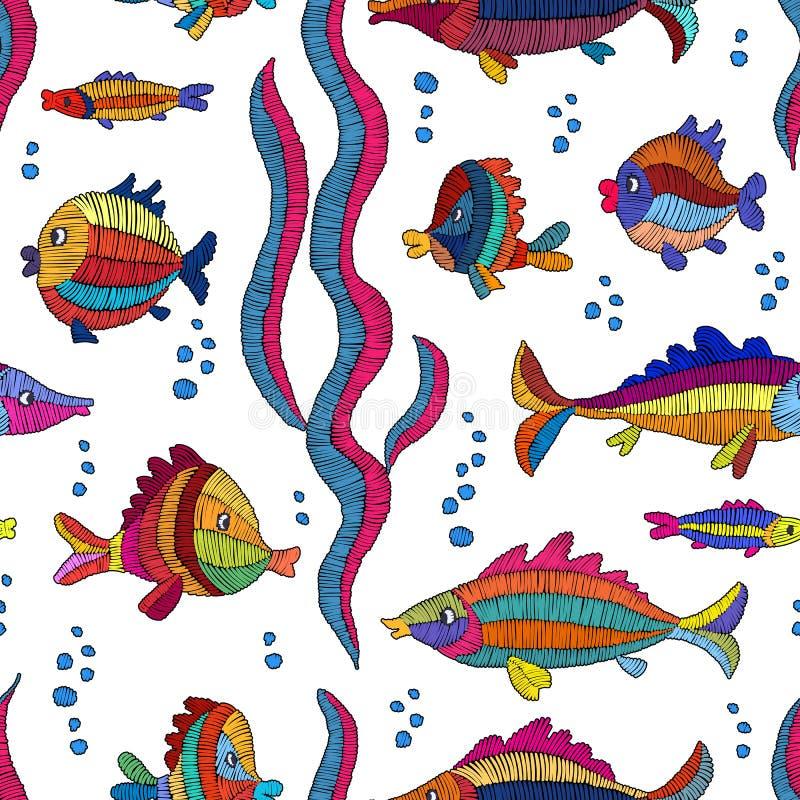 La bande dessinée a brodé des poissons sur un fond blanc - bagout sans couture illustration libre de droits