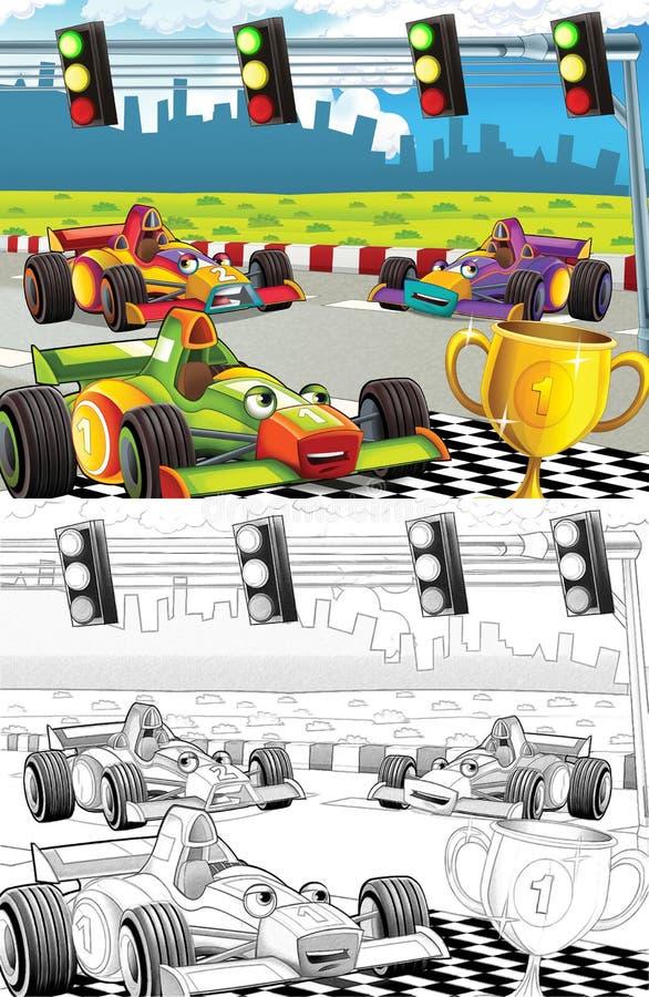 La bande dessinée a dénommé la page de coloration de machine illustration de vecteur