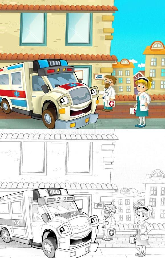 La bande dessinée a dénommé la page de coloration de machine illustration libre de droits