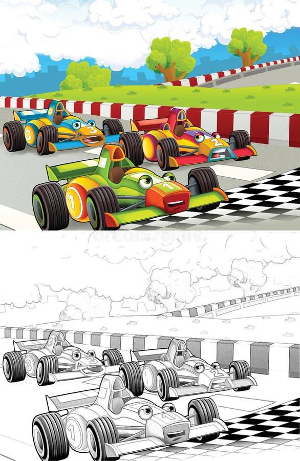 La bande dessinée a dénommé la page de coloration de machine illustration stock