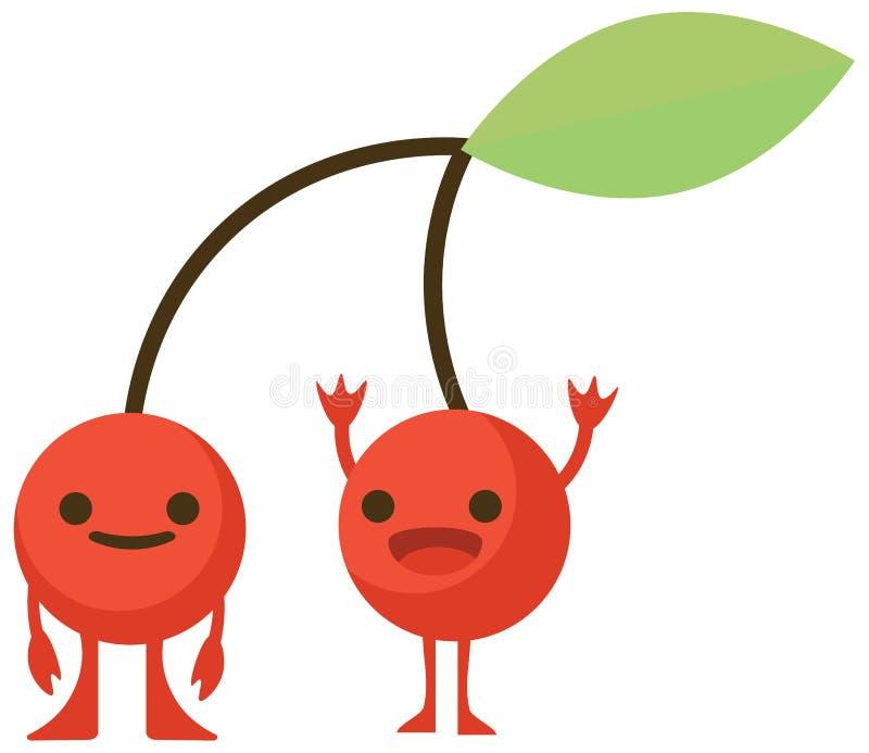 La bande dessinée d'impression gribouille le monstre plat de cerise d'agrumes d'ensemble de couleur d'été heureux illustration de vecteur