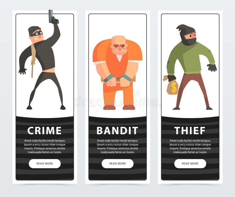 La bande dessinée de bannières de crime, de bandit, de voleur, de criminel et de forçat dirigent des éléments pour le site Web ou illustration stock