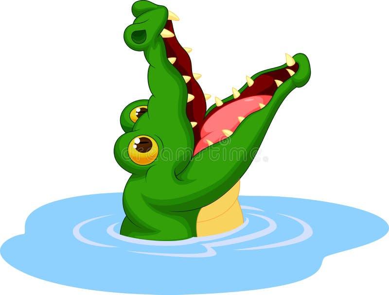 La bande dessinée de crocodile ouvrent sa bouche illustration de vecteur