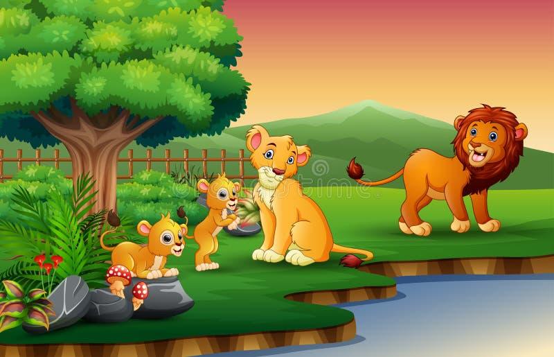 La bande dessinée de famille de lion apprécient la nature par la rivière illustration stock