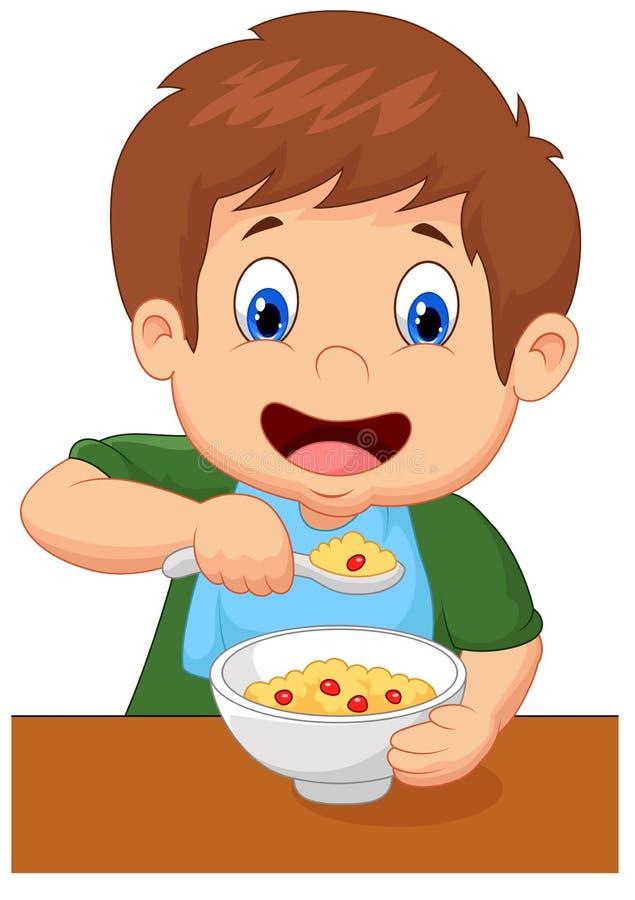 La bande dessinée de garçon a la céréale pour le petit déjeuner illustration libre de droits