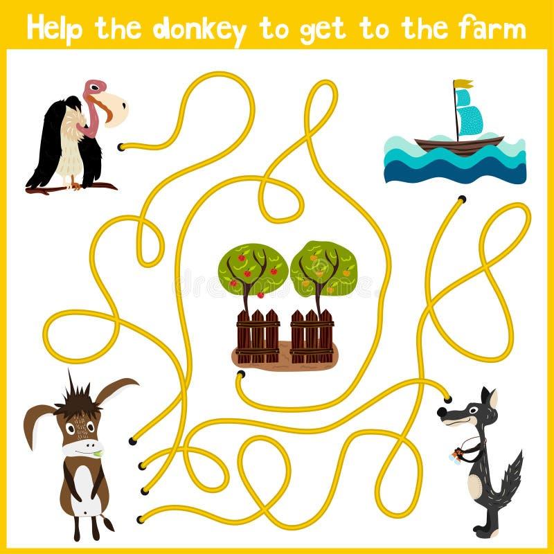La bande dessinée de l'éducation continuera la maison de façon logique des animaux colorés Aidez l'âne à arriver à la maison dans illustration stock
